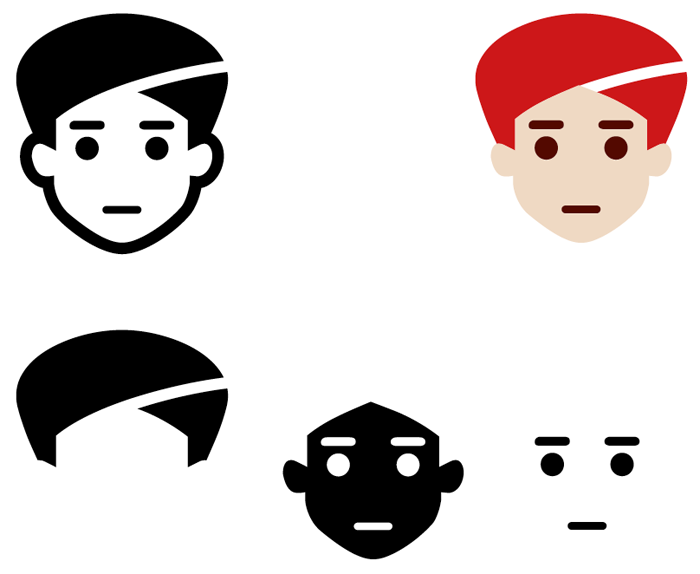 Microsofts Weiterentwicklung des OpenType-Formats ermöglicht mehrfarbige Glyphen. Oben links einfarbige Fallback-Glyphe, unten die einzelnen Ebenen einer Glyphe, oben rechts das zusammengesetzte Icon mit Farbinformationen. Quelle: typografie.info