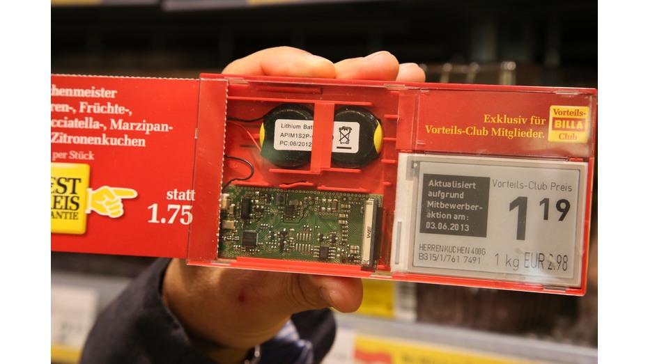 Die österreichische Supermarktkette Billa setzt in Zukunft auf Preisschilder mit E-Ink-Technologie. Quelle: futurezone.at