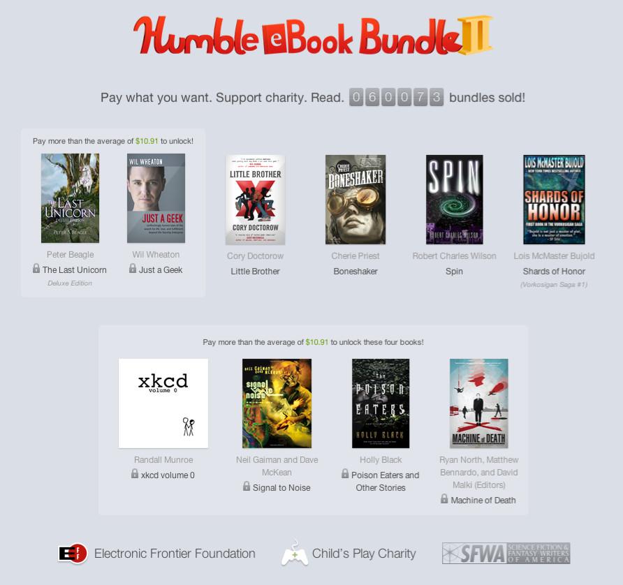 """10 Bücher konnten die Käufer des """"Humble E-Book Bundle 2"""" kaufen. Mindestpreis war 1 Cent, viele gaben jedoch deutlich mehr. Quelle: e-book-news.de"""