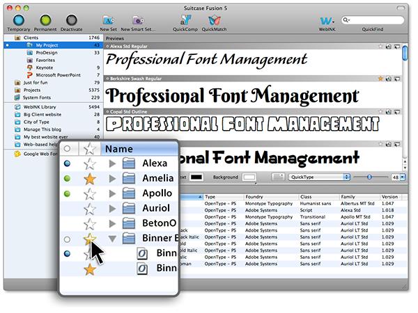 """Der Fontmanager """"Suitcase Fusion"""" ist in Version 5 erschienen und bringt einige neue Features mit. Bild: Extensis"""