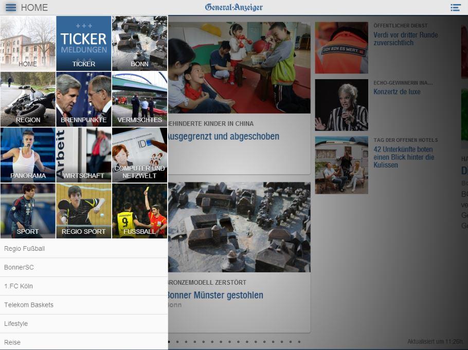 Touch-optimierte mobile Website des Bonner General-Anzeiger (hier iPad-Darstellung).