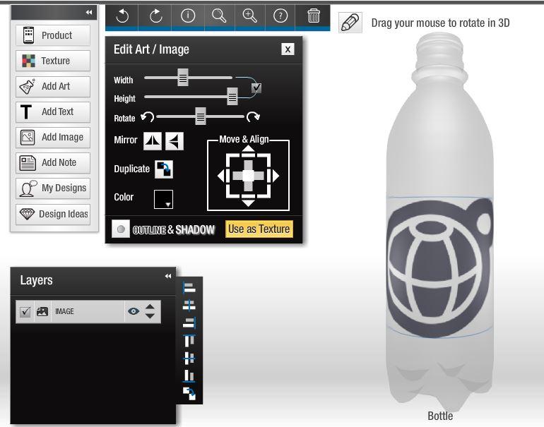 Industrielle Web-to-print-Anwendung: Personalisierter Bedruck von PET-Flaschen