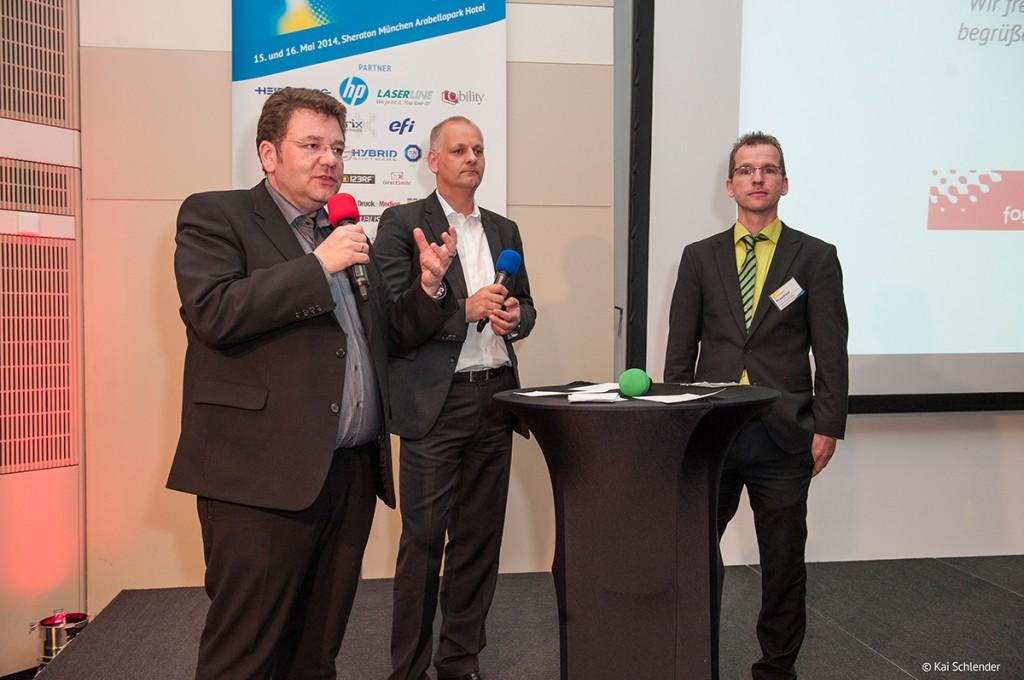 Das Moderatorenteam des Online Print Symposiums (von rechts): Dr. Andreas Kraushaar (Fogra), Jens Meyer (PrintXMedia Süd) und Bernd Zipper (zipcon consulting)