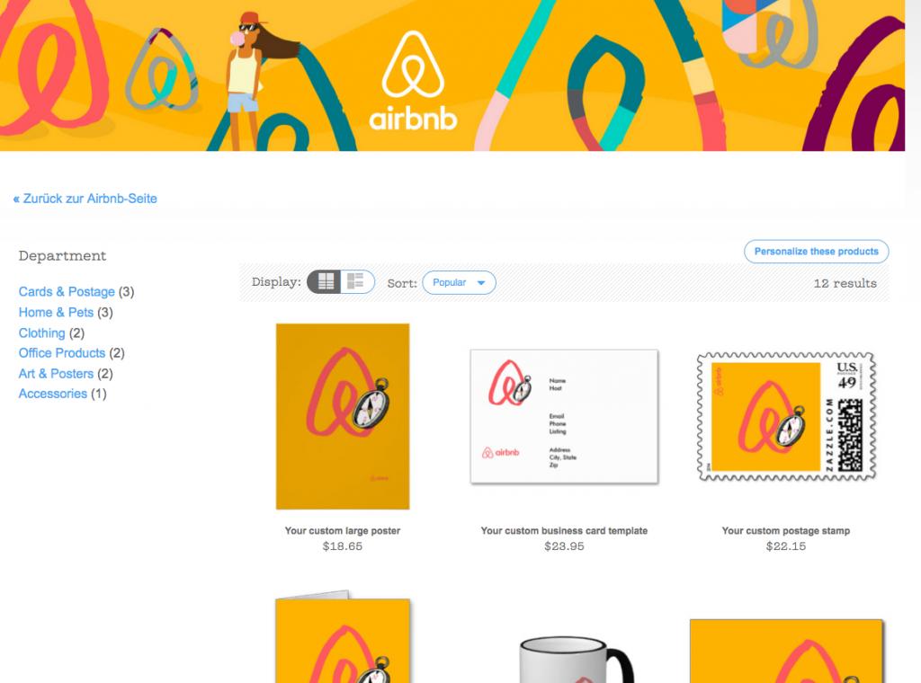 """Von Zazzle betriebener Shop-Bereich von """"Create Airbnb"""""""