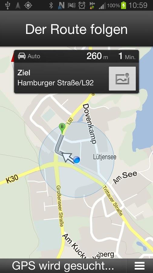 Navigationsansicht der NFCar-App