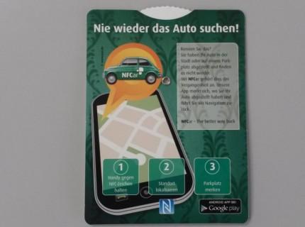 Parkscheibe mit integriertem NFC-Tag zur Lokalisierung des PKW (Abb.: PAV)