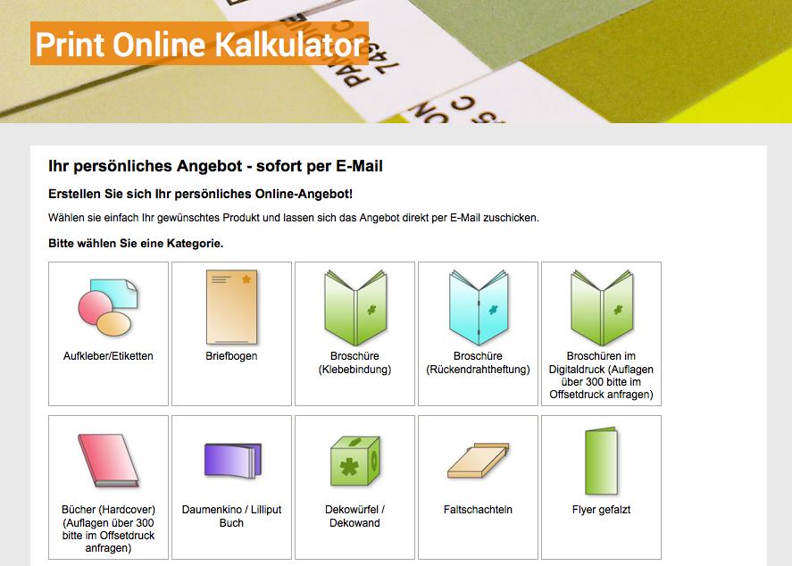 Print-Online-Kalkulator von Medienrausch