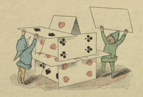 Eine Niedrigpreis-Strategie war schon für den Baumarkt Praktiker wie der Bau eines Kartenhauses. (Abb.: Die Gnomen und das Kartenhaus, cc)