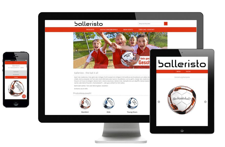 balleristo launchte den Shop gleich im responsiven Design, um auch mobile Shop-Besucher anzusprechen (Abb.: 2sic)
