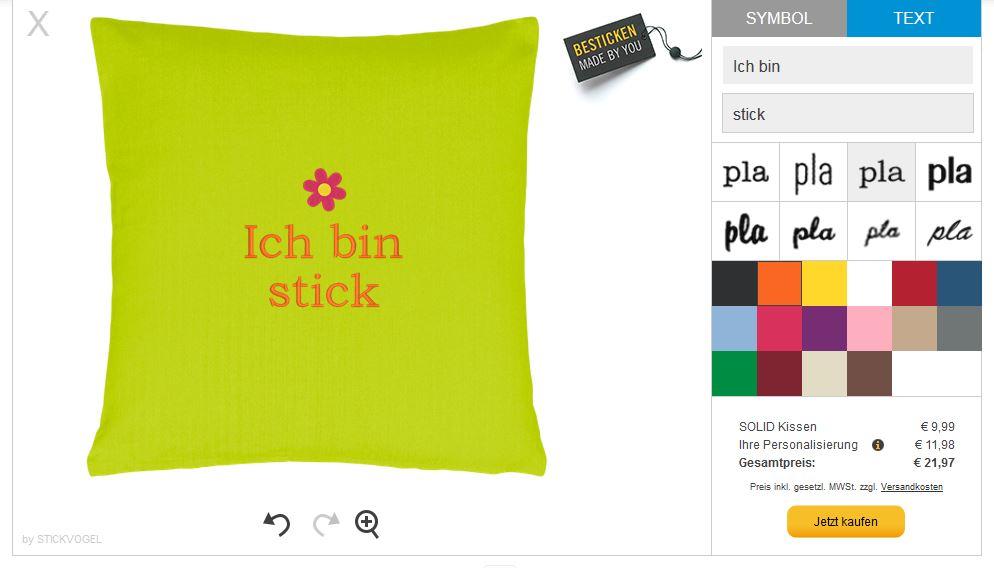 Der Stickvogel-Konfigurator für personalisierte Stickereien im Butlers-Shop.