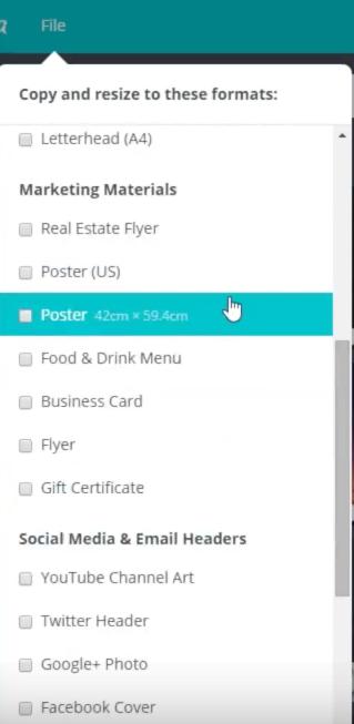Auch für Druckvorlagen-Zielformate wie Flyer, Speisekarten oder selbst Poster bietet Canva for Work seine Magic-Resize-Funktion an.