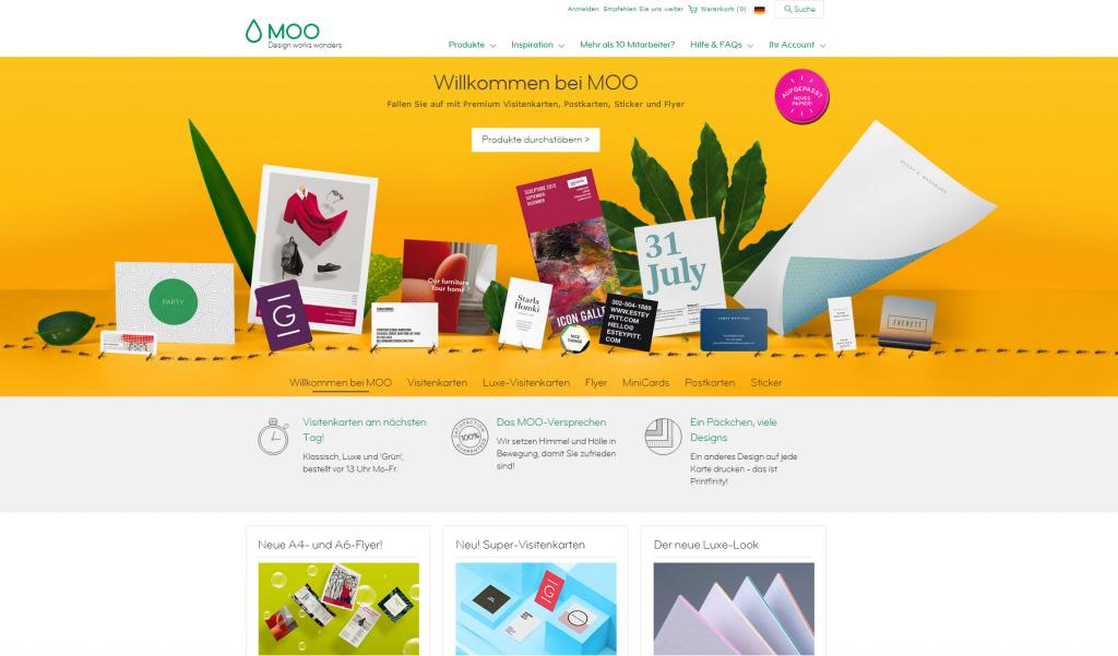 Das physikalische Druckerzeugnis ist nur ein Bestandteil eines digitalen Geschäftsmodells. In Großbritannien beispielsweise wird die Onlinedruckerei Moo.com als Tech-Startup angesehen. (Screenshot moo.com/de Onlineshop)
