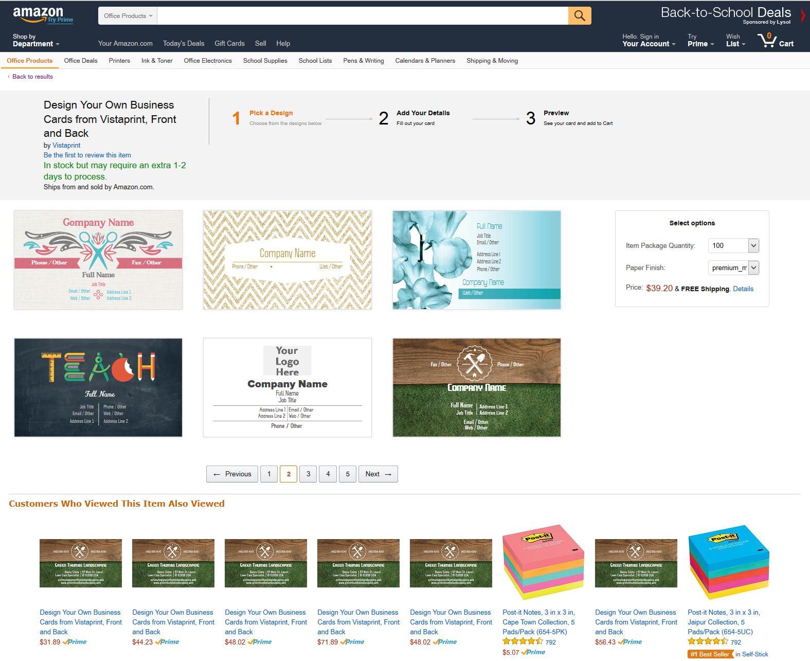 Amazon Vistaprint Übersicht