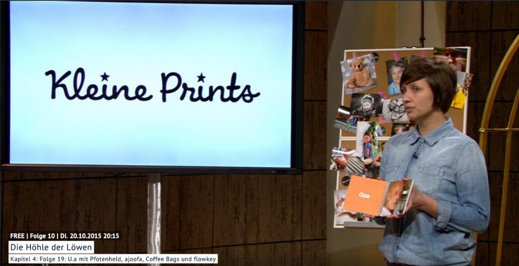 Eva Malawska, Gründerin von Kleine Prints, bei ihrem Pitch in der TV-Gründer-Show Höhle der Löwen. (Abb.: Vox)
