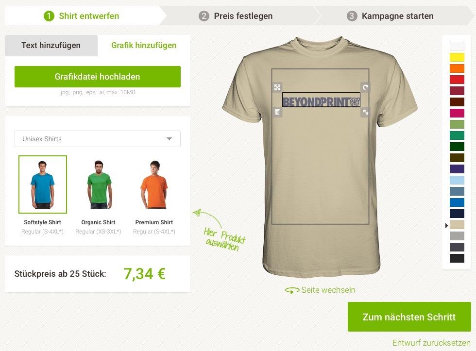 Der Online-Editor von Seedshirt.