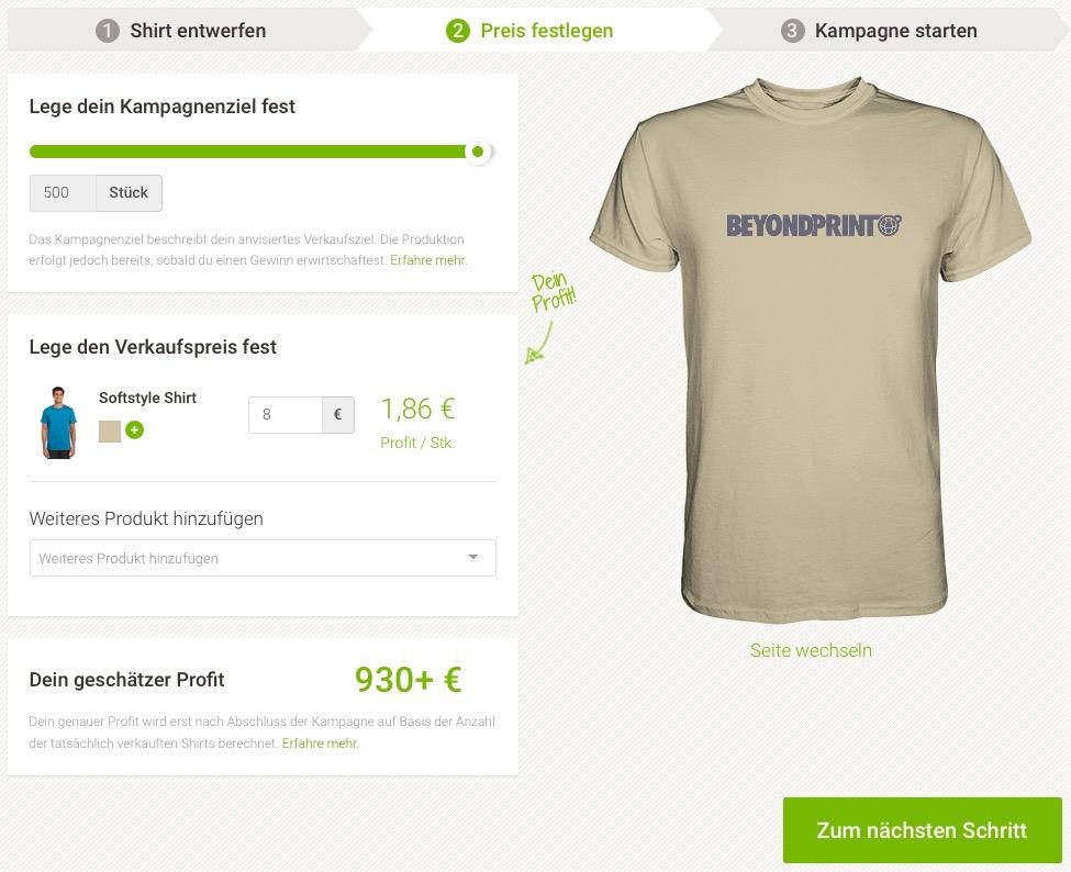 Preisbestimmung bei Seedshirt.