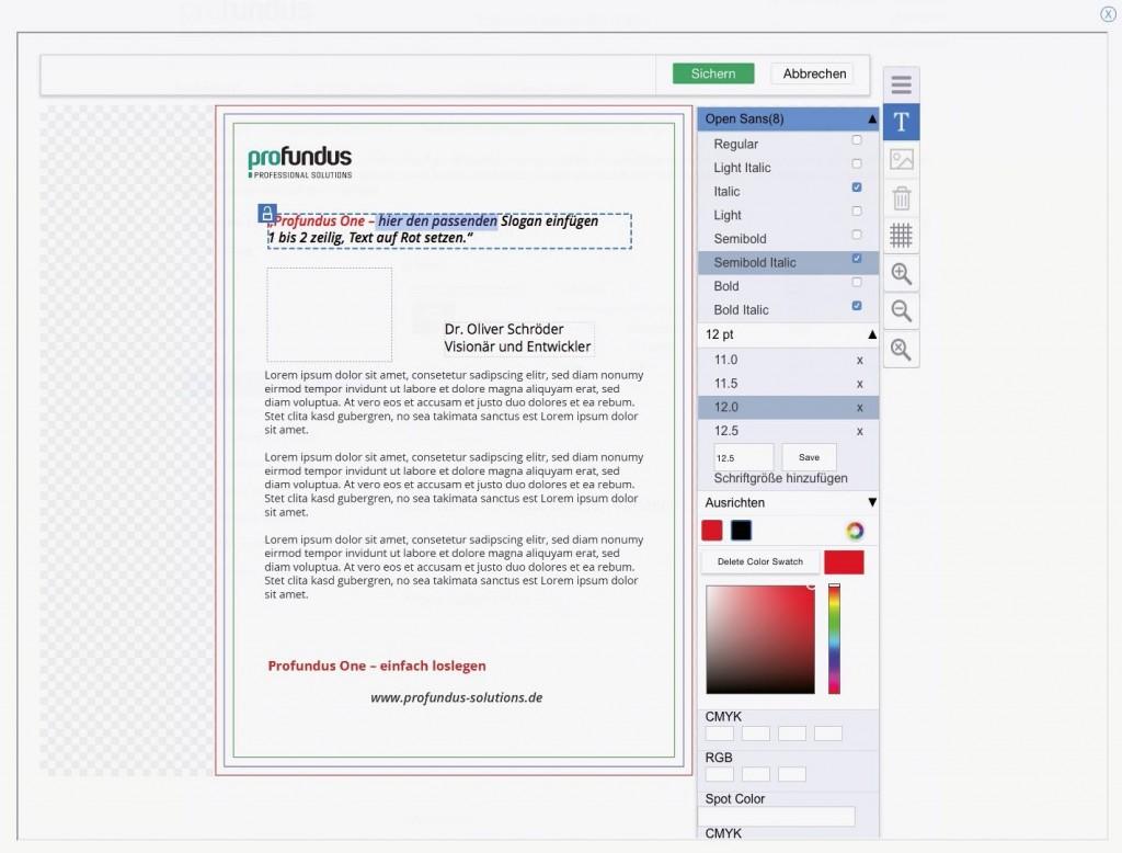 Der HTML-Editor von Profundus One.