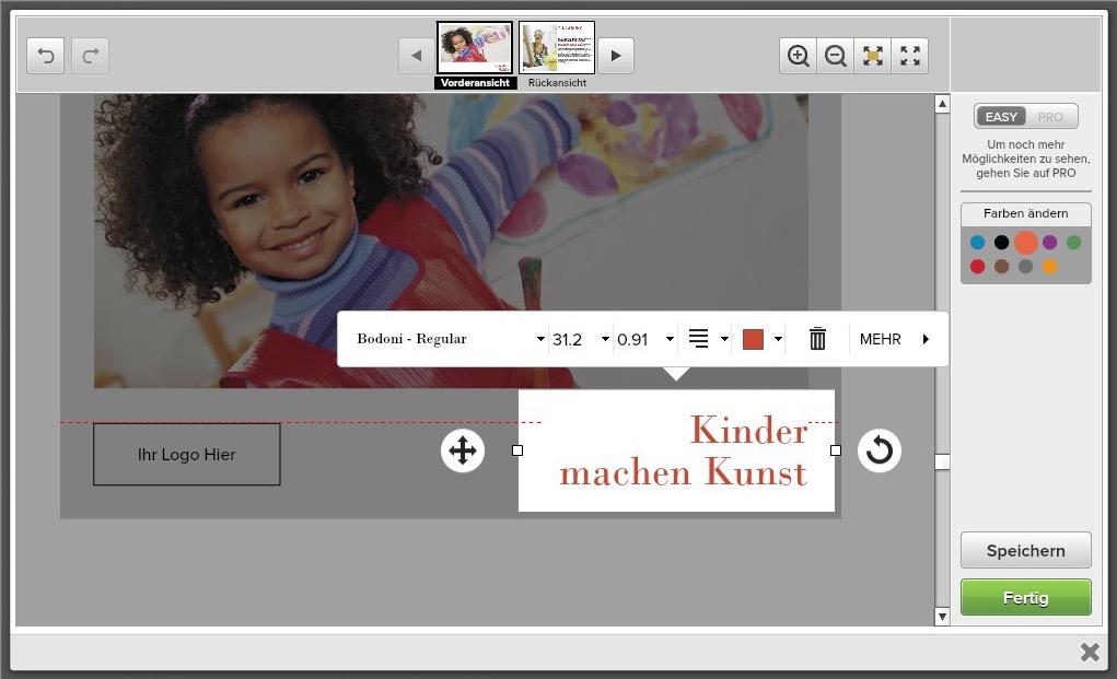 Online-Editor zur Anpassung vorgestalteter Designs bei drucken.de