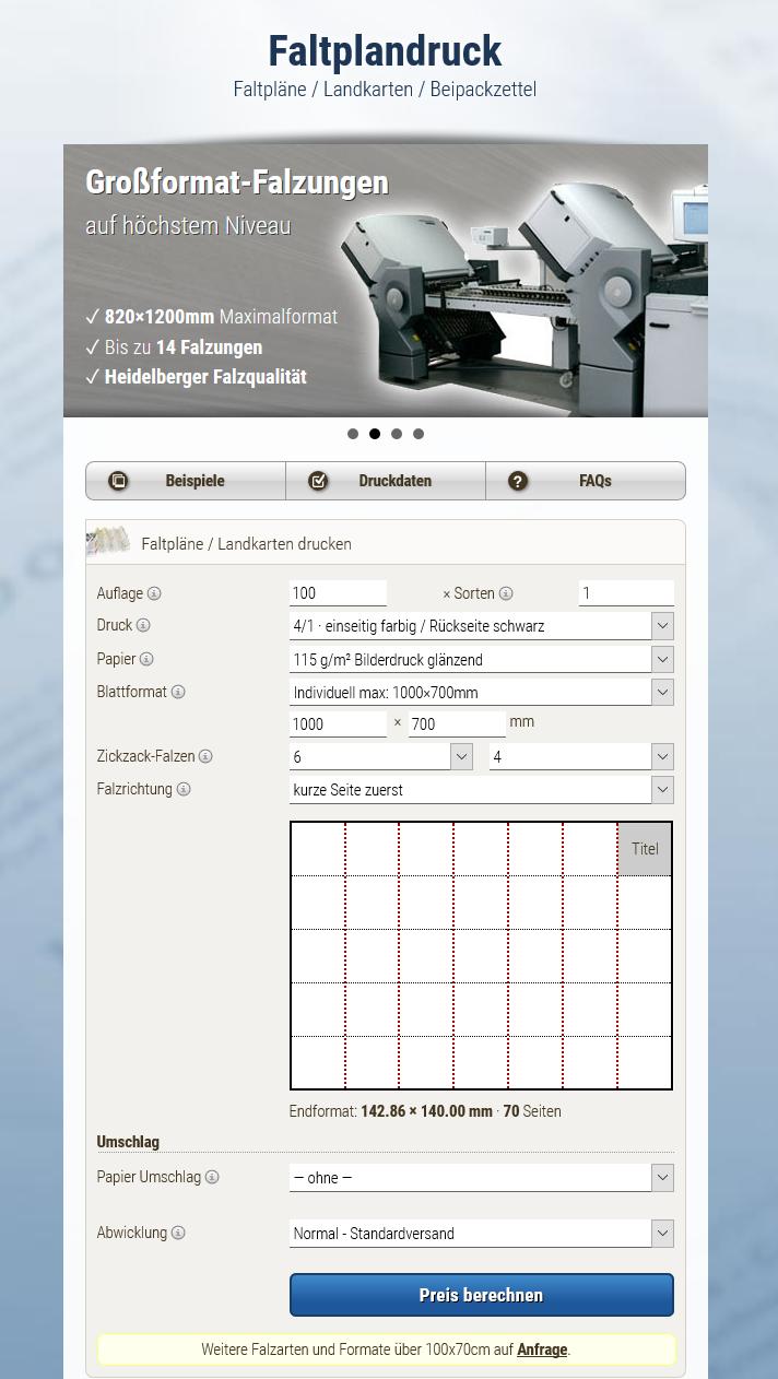 Small, fine – mobile. Megadruck offers fold-out maps online. Source: faltplandruck.de
