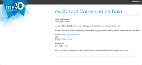 my3D hat sich zum 1. März verabschiedet.