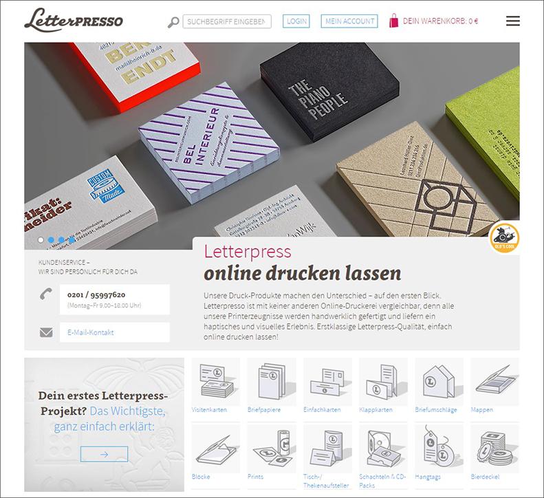 Quelle: Screenshot Letterpresso, der neue Onlineshop ist seit Mitte März erreichbar.