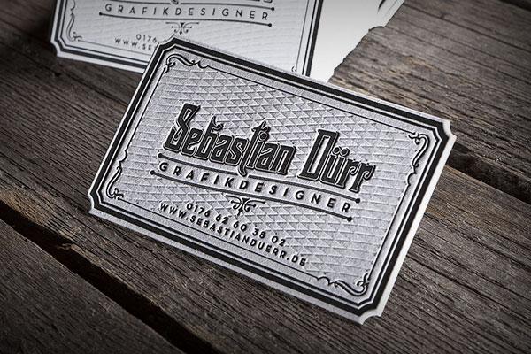 Visitenkarten Letterpress Blind Konturstanzung