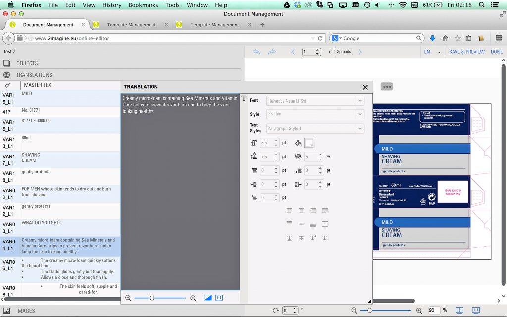 Beispiel für das Online-Editieren einer Verpackung; Quelle: 2imagine.eu