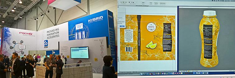 Links: Der Stand von Hybrid Software in Halle 7A. Rechts: Die neue 3D-Warping-Funktion; Quelle: Eigenes Bildmaterial