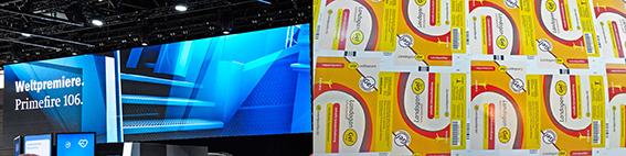 Links: Heidelberg kündigt die neue Primefire 106 an. Rechts: Frischer Druck aus der Primefire 106; Quelle: Eigenes Bildmaterial