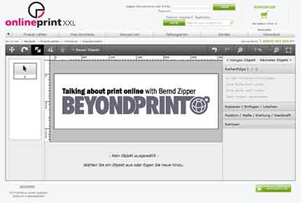 Editor in the onlineprintxxl.com store (A), an Obility reference client; Source: obility.de