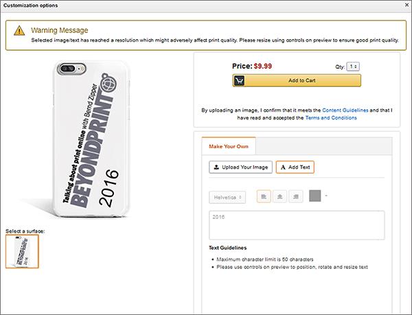 Die Möglichkeit zur Bild- und Texteditierung bei einer Smartphone-Hülle; Quelle: amazon.com