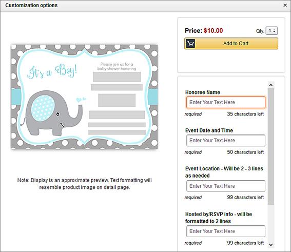 Eine fröhliche Mitteilung als Beispiel für ein mehrzeilig personalisierbares Druckprodukt; Quelle: amazon.com