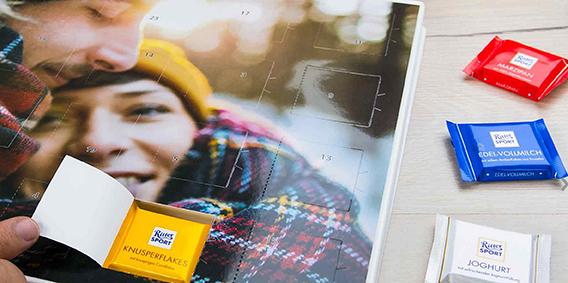 Schicker als die Stangenware: Ritter Sport Minis im selbst gestalteten Foto-Adventskalender; Quelle: posterxxl.de