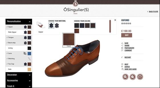 Mit dem Schuh-Designer lässt sich jede noch so kleine Eigenschaft am Produkt editieren; Quelle: o-singuliers.com