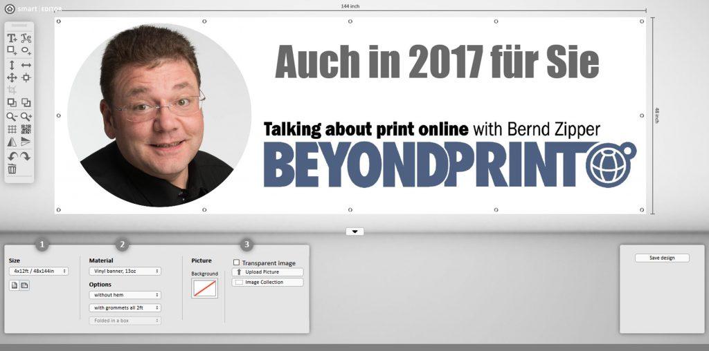 Einfaches Gestalten von Bannern für den Digitaldruck mit dem Smart-Editor auf Amazon; Quelle: expo-express-shop.com