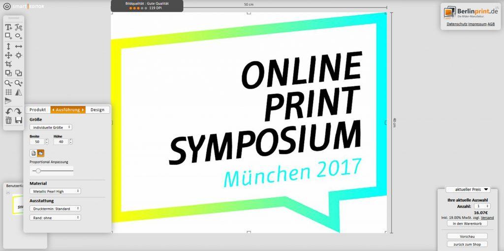 Der CA-Editor im Printshop von berlinprint.de mit Hinweis auf ausreichende Auflösung; Quelle: berlinprint.de