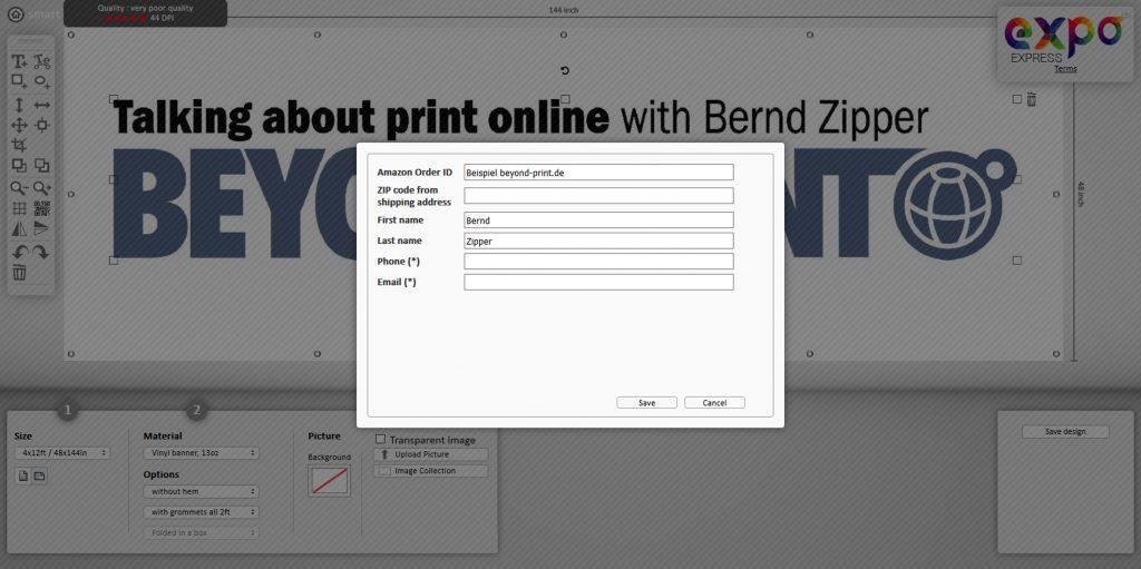 Die Angabe der Kontaktdaten ist obligat und dient auch der Zuordnung der Bestellung zu Käufer; Quelle: expo-express-shop.com