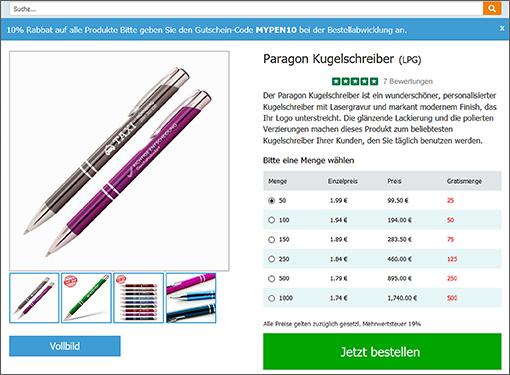 Hochwertige und gut verkäufliche, gestaltbare Kugelschreiber wird Cimpress in wenigen Wochen auch anbieten können; Quelle: penseurope.com/de