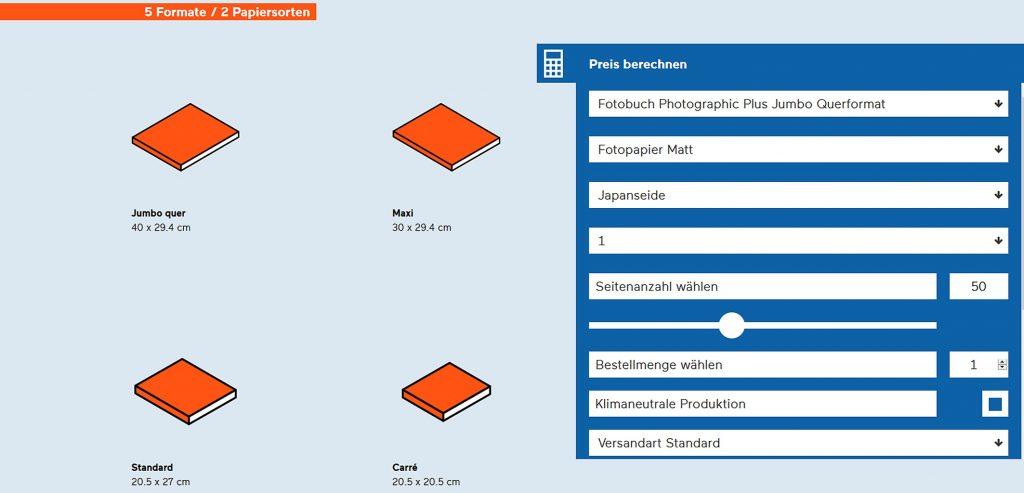 Bevor es mit der Bestellung losgeht, kann man bei Bubu die Preise für verschiedene Konfigurationen ermitteln; Quelle: bookfactory.ch