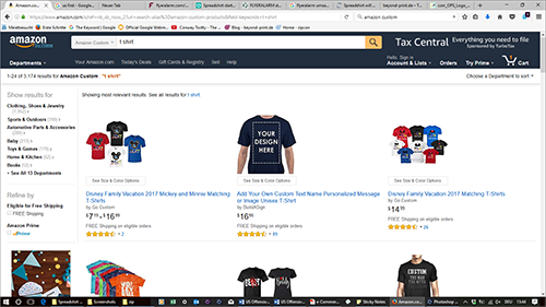 Design-it-yourself textiles are also available via Amazon Custom; Source: amazon.com