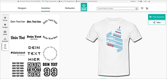 The current design tool, which you can use to design your own T-shirts on the website, is unspectacular but does a very decent job; Source: spreadshirt.de