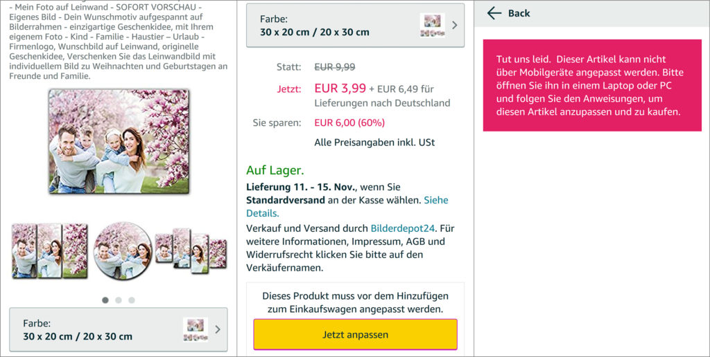 amazon custom is to date not mobile compatible source amazonde - Mass Customization Beispiele