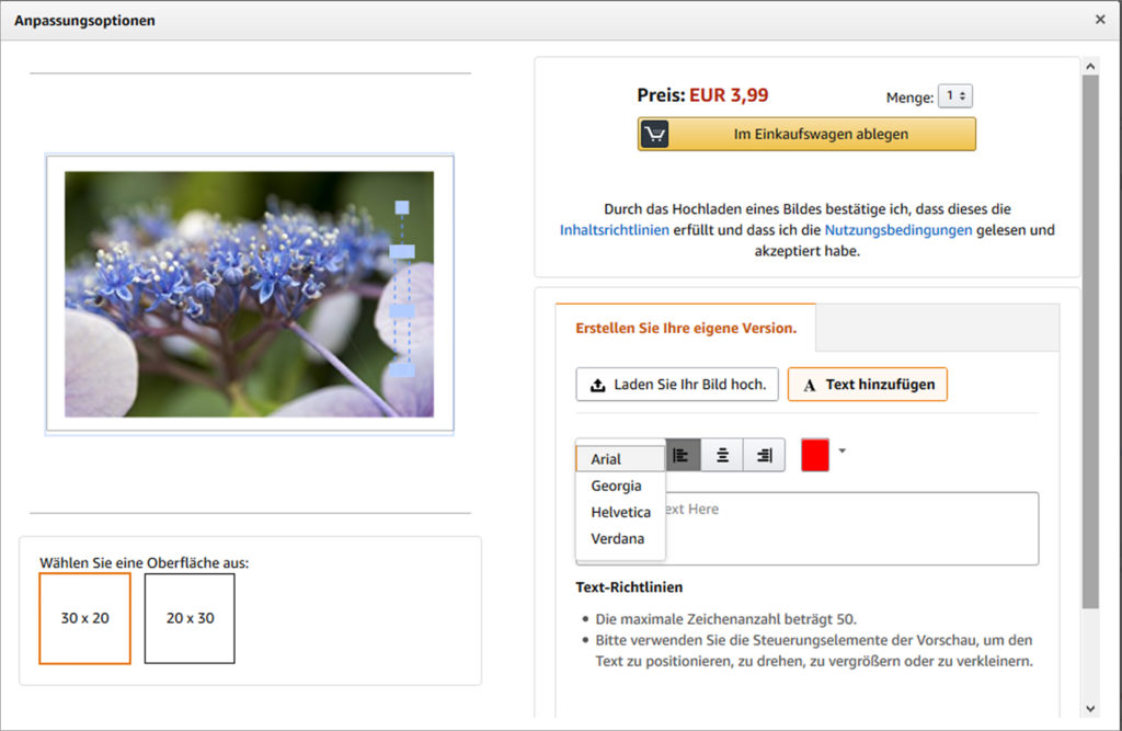 the print product customization options on amazon are modest but not necessarily less than whats offered at some online print stores source amazonde - Mass Customization Beispiele